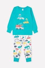 Пижама(Весна-Лето)+boys (темный минт, цветные машинки)