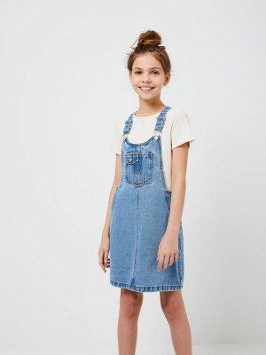 1803051905 (102 голубой индиго) Сарафан джинсовый для девочек