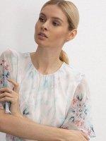 Шифоновая блуза с принтом B2592/geranium