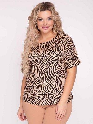 """Блузки Блузка прямого силуэтаиз штапеля с """"животным"""" принтом и цельнокроеным рукавом. - горловина оформлена круглым вырезом - короткие цельнокроеные рукава - низ ровный, с разрезами в боковых швах -"""