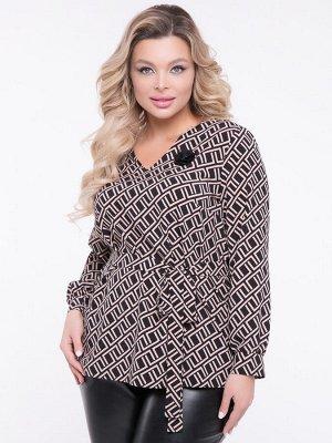 """Блузки Блузка прямого силуэта, выполнена из легкой блузочной ткани с геометрическим принтом . - принт""""геометрический"""" - V-образная горловина на обтачке - длинные рукава с манжетом с застежкой на пуго"""