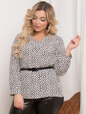 """Блузки Блузка прямого силуэта, выполнена из легкой блузочной ткани с принтом """"горох"""". - принт""""горох"""" - V-образная горловина на обтачке - длинные рукава с манжетом - низ ровный, без разрезов - без зас"""