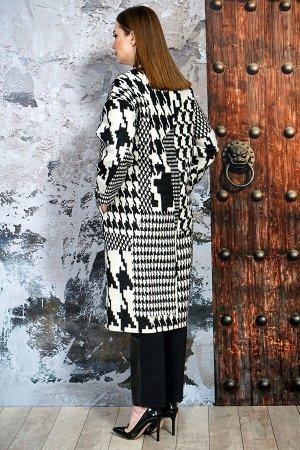 Пальто Пальто Белтрикотаж 6756 черно-белый принт  Состав: ПЭ-30%; Шерсть-65%; Кашемир-5%; Сезон: Весна  Пальто прямого силуэта ,со спущенным плечем, с центральной застежкой на 5 пришивных кнопок.На у