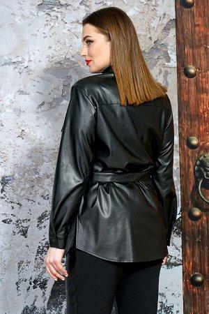 Рубашка Рубашка Белтрикотаж 6512 черный  Состав: ПЭ-100%; Сезон: Весна  Рубашка прямого силуэта, удлиненная.Перед с нагрудными вытачками и застежкой на кнопки. Перед с накладными карманами с клапаном