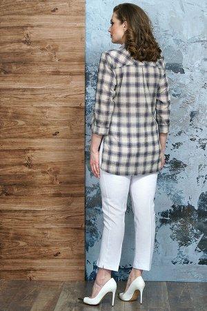 Рубашка Рубашка Белтрикотаж 4337  Состав: ПЭ-22%; Хлопок-76%; Эластан-2%; Сезон: Весна  Рубашка женская прямого силуэта. По правой детали переда отрезная нижняя часть. По переду накладные карманы с к