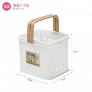 Корзинка пластиковая  с ручками белая квадратная 14.5 см*13 см*13 см