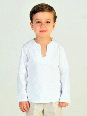 Рубашка Рубашка длинный рукав,белый лен 85%, полиэстер 15%  ТМ Дашенька