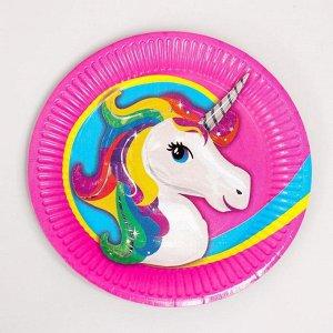Набор бумажной посуды «Единорог — жемчужная фольга», 6 тарелок, 1 гирлянда, 6 стаканов, 6 колпаков