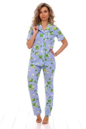 "Пижама с коротким рукавом голубая ""Лайм"""