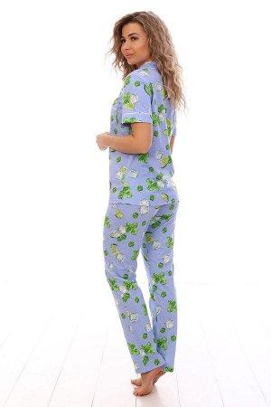 Пижама с коротким рукавом голубая