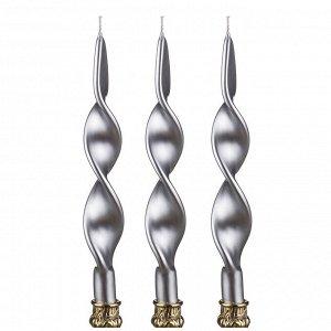 Набор свечей из 3 шт. серебряный металлик н=27 см. (кор=6наб.)
