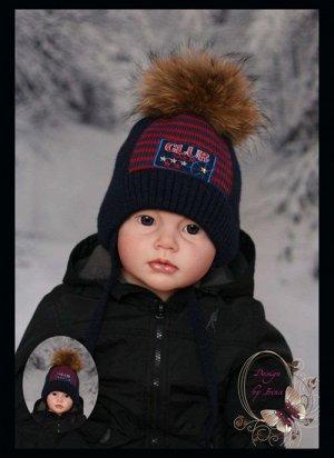 Распродажа!Вязаная шапка CLUB(т.син)с помпоном из натурального меха енота