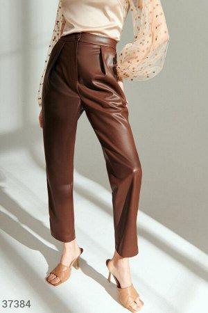 Кожаные брюки шоколадного оттенка