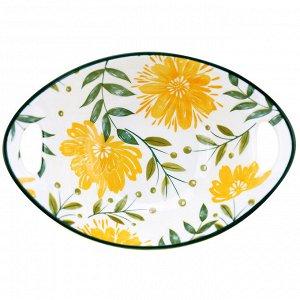 """""""Желтые цветы"""" Салатник фарфоровый 500мл, 22,2х15,8х6,9см, с ручками, с деколью, отводка (Китай)"""