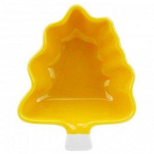 """""""Крона"""" Салатник фарфоровый 120мл, 9,5х11,7х4,3см, желтый (Китай)"""
