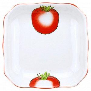 """Помидор"" Тарелка глубокая фарфоровая 192х192мм h35мм, 500мл, квадратная, подглазурная деколь (Китай)"