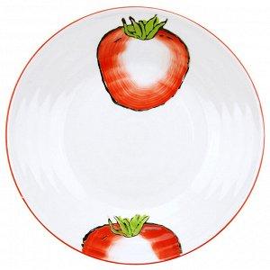 """Помидор"" Тарелка глубокая фарфоровая д177мм h39мм, 420мл, подглазурная деколь (Китай)"