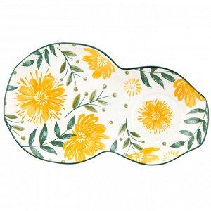 """""""Желтые цветы"""" Блюдце фарфоровое 29,2х17,7см h2,2см, двойное, с деколью, отводка (Китай)"""