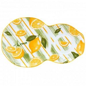 """""""Лимон"""" Блюдце фарфоровое 29х17,5см h2,2см, двойное, с деколью, отводка (Китай)"""