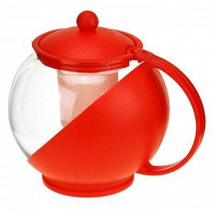 """Чайник заварочный 1,25л д14см, h13,5см пластмассовый корпус, стеклянная колба, сито пластик """"Аврора"""" д/горла-9,2см, д/основания-8,5см, цветная упаковка (Китай)"""
