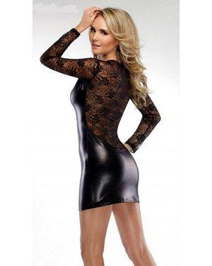 Латексное платье с кружевным верхом