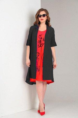 Комплект Платье: Хлопок 65%, ПЭ 30%, Эластан 5%, Накидка: ПЭ 100%   ///   Комплект женский, состоящий и з платья и шифоновой накидки. Платье свободного кроя, расширенное к низу. Горловина овальной фор