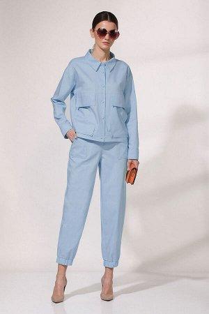 Комплект Молодежный джинсовый костюм из двух предметов: куртка и брюки. Куртка прямого силуэта. Застёжка центральная на кнопки. Спереди обработаны боковые накладные карманы с листочками. Современные д