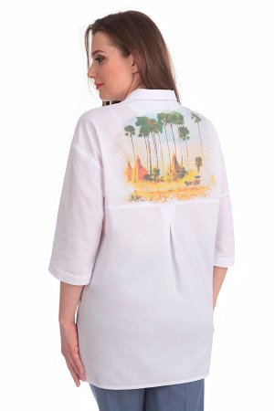 Блуза Блуза Linia-L Б-1573 белый  Состав: ПЭ-41%; Хлопок-56%; Эластан-3%; Сезон: Весна-Лето Рост: 164  Повседневная текстильная блузка прямого силуэта среднего объёма. Перед блузки с горизонтальной к