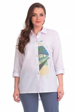 Блуза Блуза Linia-L Б-1575  Состав: ПЭ-41%; Хлопок-56%; Эластан-3%; Сезон: Весна-Лето Рост: 164  Повседневная текстильная блузка прямого силуэта среднего объёма. Перед с горизонтальными нагрудными вы