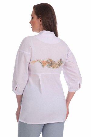 Блуза Блуза Linia-L Б-1580  Состав: ПЭ-41%; Хлопок-56%; Эластан-3%; Сезон: Весна-Лето Рост: 164  Повседневная текстильная блузка прямого силуэта среднего объёма. Перед блузки с накладными карманами и