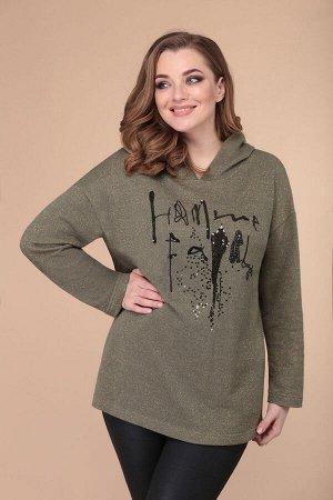Худи Худи Linia-L Б-1853 хаки  Состав: ПЭ-29%; Хлопок-68%; Металл-3%; Сезон: Осень-Зима Рост: 164  Мягкий уютный трикотаж и дизайнерская вышивка -- идеально сочетаются в женском худи свободного кроя.