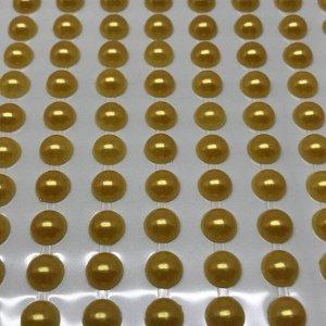 Полубусины клеевые 8 мм, цвет золото