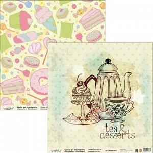 """Бумага для скрапбукинга """"Ванильные и сладкие радости"""" 30.5х30.5 см BCH005 (5 листов)"""