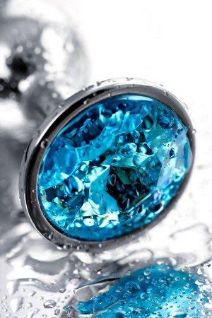 Анальный страз, металл, серебристый, с кристаллом, 7 см, ø 2,8 см, 50 г