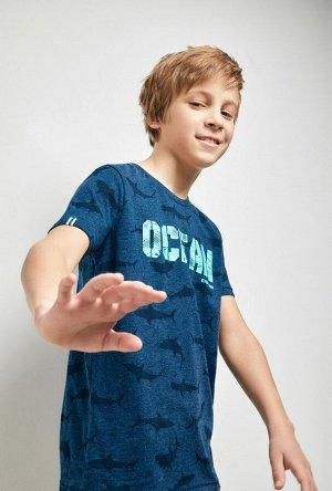 Футболка(Фуфайка) детская для мальчиков Ponka темно-синий