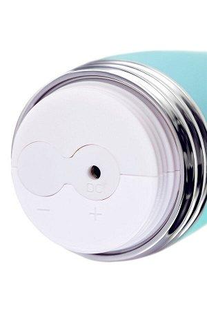 Вибратор с клиторальным стимулятором, силикон, мятный, 22 см