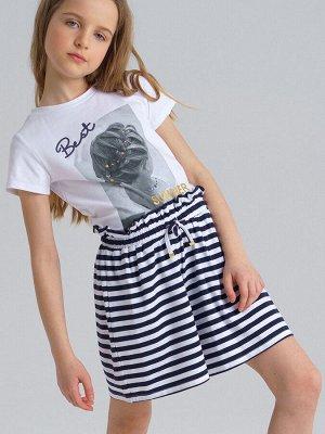 Комплект трикотажный для девочек: фуфайка (футболка), шорты