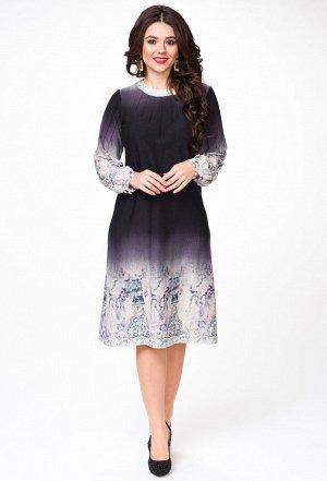 Платье Melissena 1037 черника-бежевый