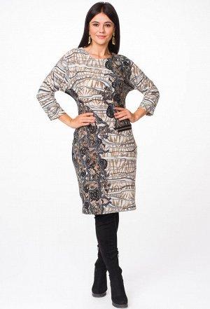 Платье Melissena 1023 бежево-серый