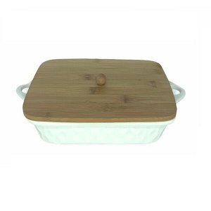 Форма для запекания, с крышкой, фрф, бамбук, 28 х 18,5 х 5,5 см