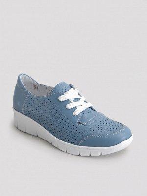 Туфли женские летние, голубая кожа