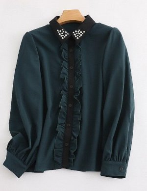 Женская блуза с длинным рукавом, декоративные элементы на воротничке, цвет темно-синий