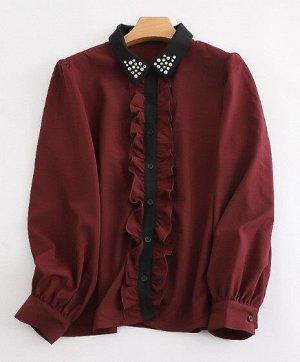 Женская блуза с длинным рукавом, декоративные элементы на воротничке, цвет винный