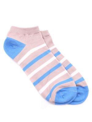 "Короткие носки р.40-45 ""Полосатики"" Бежево-голубые"