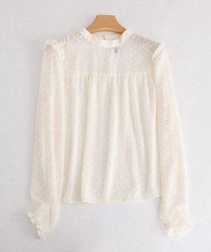 Женская блуза с длинным рукавом, цвет кремовый