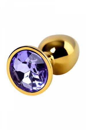 Анальный страз, металл, золотистый, с кристаллом цвета аметист, 7 см, Ø 2,8 см, 50 г