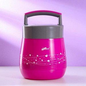 """Термос """"Миирим"""", 1 л, ложка, тарелка, сохраняет тепло 4-5 ч, розовый 6851774"""