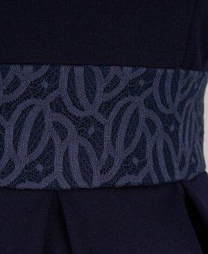 Школьное синее платье для девочки с гипюром Цвет: синий
