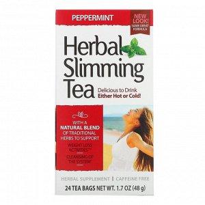 21st Century, Травяной чай для похудения, мята, без кофеина, 24 чайных пакетика, 1,7 унции (48 г)