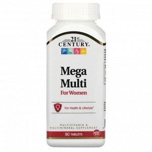 21st Century, Mega Multi, мультивитамины и мультимикроэлементы для женщин, 90 таблеток